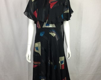Reserved Vtg 70s Icinoo silk abstract flowy ruched bustle wearable art to wear dress