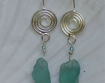 Bonfire seaglass and czech glass bead earrings on sterling silver