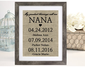 Personalized Nana Gift, Mother's day Gift for Grandmother, My Greatest Blessings Call Me Nana, Grandchildren Name Wall Art, Grandma Gift