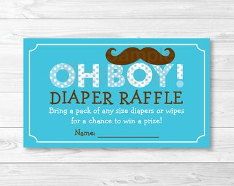 Cute Mustache Diaper Raffle Tickets / Mustache Baby Shower / Little Man Baby Shower / Oh Boy Baby Shower / Printable INSTANT DOWNLOAD A264