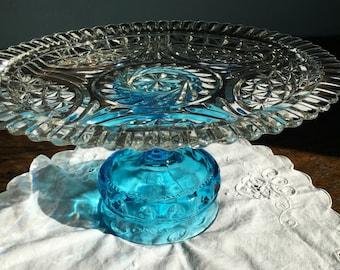 Wedding Cake Stand Vintage Blue Glass Dessert Stand