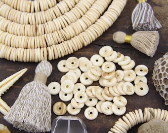 Cosmic Latte: Neutral, Cream, Off-White, Tea Stained Cow Bone Washer Heishi Disc Beads, 12x2mm, Boho Mala Jewelry Making Supply, 105 pc