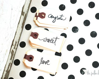 LOVE mini tags, set of 10 - Love Tag - Wedding Love Tag - Valentine Tag - Love - Stamped Tag - White Love Tag - Manila Love Tag - LOVE