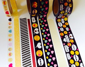 "Washi Tape 18-24"" Sample/ emojis/emoticons/phrases/black washi tape/hearts"
