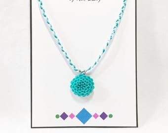 Girls' Teal Flower Pendant Necklace - Free Shipping in the US