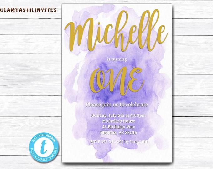 Watercolor Birthday Invitation, First Birthday Invitation, Purple Watercolor Invitation, Birthday Template, Editable Invitation, Watercolor