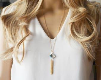 Long Gold Tassel Necklace, Chain Tassel,Simple Minimal Tassel Necklace, Crystal Tassel Necklace,Simple Gemstone Necklace,Layering Necklace,
