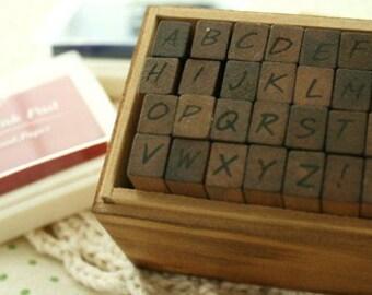 28 pcs Funnyman Antique Writing Alphabet Rubber Stamp- Upper Case