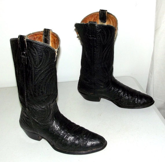 Ostrich Black 12 size Cowgirl 10 distressed Western or 5 D Cowboy boots size Rockabilly EqfFS56