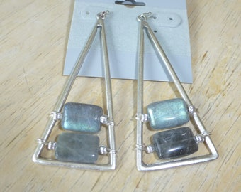Labradorite and Silver Pierced Earrings