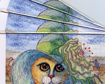 4 x ginger tabby cat greeting cards - hat at the races
