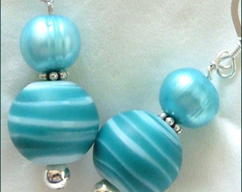 Down by the Seashore -- Aqua Lampwork Glass Beads with Cool Aqua Freshwater Pearls and Sterling Silver Earrings