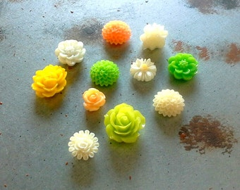 Magnet set, fun Spring colors in a set of 11 orange, green, yellow and white cabochon flower Rare Earth Fridge Magnets, or choose pushpins