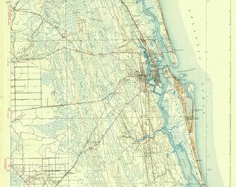 Elevation Map Of Florida.Quadrangle Map Etsy