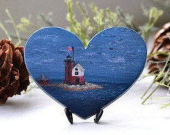 Round Island Lighthouse sunset mini acrylic painting, brooch or a magnet