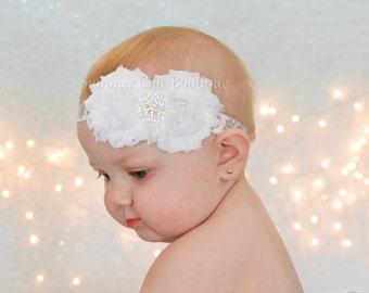 Snowflake Headband, Baby Headband, White Christmas Headband, Infant Headband, Baby Headband, Newborn Headband, White Baby Headbands
