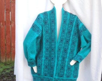 Half Price, Scottish designer  Sweater, Jacket Celtic Jacket, Knitted Jacket  in Jade green,Jumper, Sweater