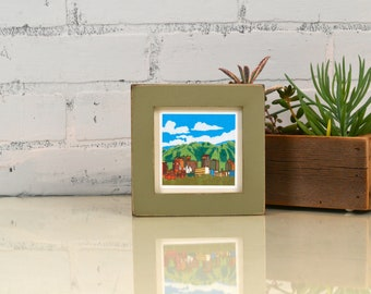 4x4 Square Photo Picture Frame in 1x1 Flat Style with Vintage Old Green Finish - IN STOCK -  Same Day Shipping - 4x4 Picture Frame