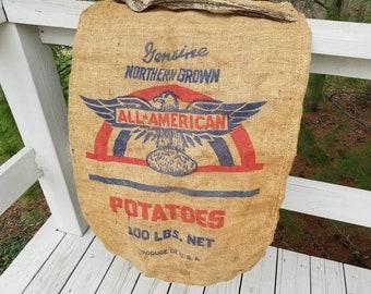 All American Potatoes 100 Lbs. Net Eagle Red & Blue Burlap Potato Sack