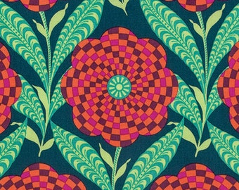 """End of Bolt, Zebra Bloom in Ink from the Eternal Sunshine Collection by Amy Butler - Cotton Quilting Fabric 36""""x44"""""""