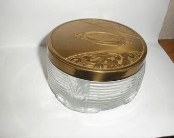 Estate;Gold Engraved Cover Powder Jar