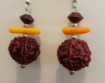 Coral and seed drop earrings
