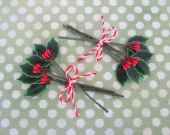 Vintage Style Mini Lacquered Holly Picks Christmas Winter lacquered Holly Stems for Crafting Millinery