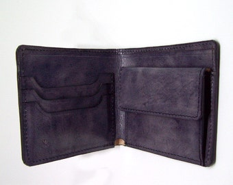 Handmade Bifold Leather Wallet Gray - Thin Leather Bifold Wallet - Mens Leather Wallet - Minimal Leather Wallet - Wallet No 3