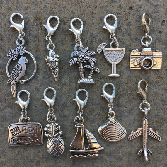 Summer Holiday Stitch Markers, a set of Progress Keepers with a Retro Travel Theme