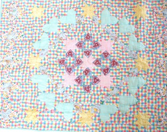 Baby Quilt Nursery Wall Hanging, Hearts in Heaven Pink, Aqua Green and Yellow Quilt