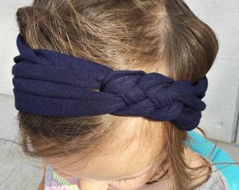 ADULT Solid Navy sailors knot headband; navy blue
