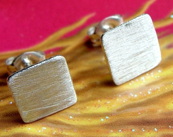 Flat Square Studs 8mm Square Sterling Silver Stud Earrings Post Earrings Square Studs