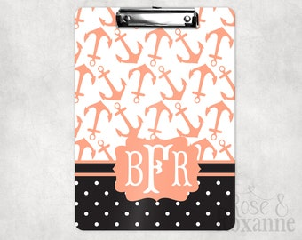 Monogrammed Nautical Anchor Clipboard in Coral and Black | Back to School Gift | Teacher Gift