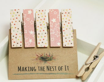Pink Stars Baby Girl Twinkle Twinkle Clothespin Magnets