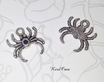 20 x charms silver metal spider charms
