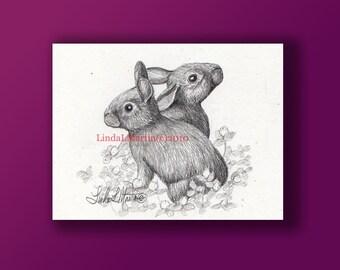 Baby Bunnies in Graphite Original