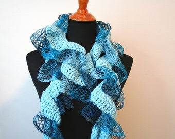 Blue Ruffle Scarf, Fancy Blue Scarf, Blue Fashion Scarf, Blue Party Scarf
