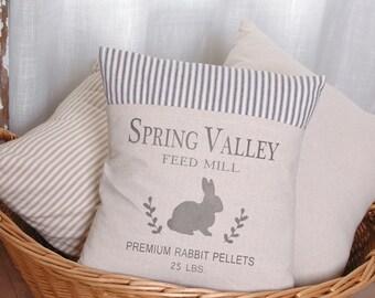 Spring Pillow, Bunny Pillow, Bunny Rabbit, Rabit Feedsack, Pillow Cover, Ticking