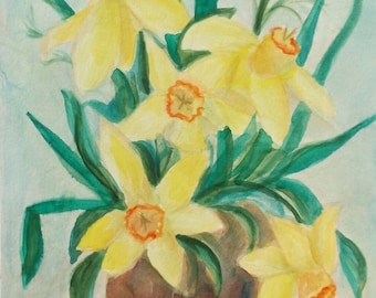 "Watercolor, Original - ""Jonquils"" -on watercolor paper - 11 x 15"
