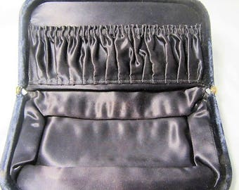 Antique Expandable Navy Blue Velvet Clutch Women's Evening Bag, Snap Clutch For Evening Wear, Velvet Clutch, Navy Purse, Womens Clutch
