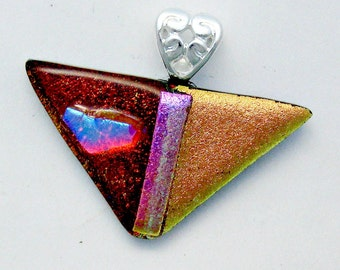 Red and Salmon Dichroic Fused Glass Pendant