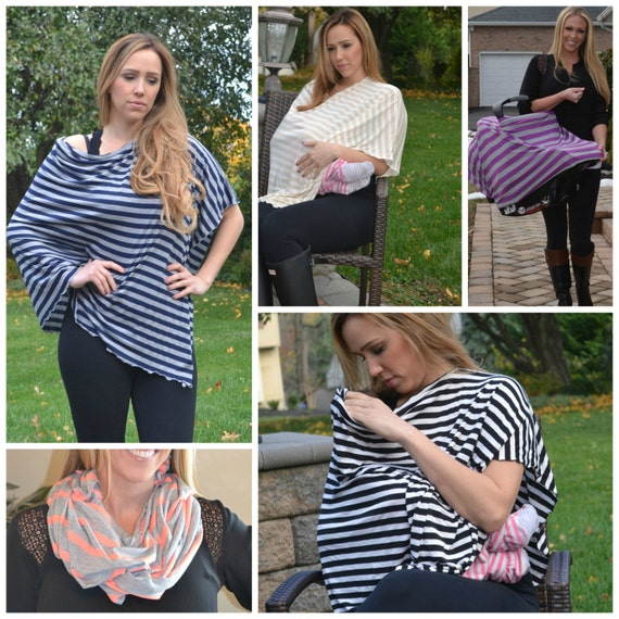 Nursing Shawl Nursing Cover Poncho Infinity Scarf Breastfeeding Cover Stripe  Nursing Cover
