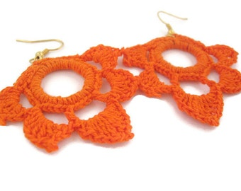 Crochet Lotus Earrings, Bright Orange, Lotus Earrings, Flower Earrings, Crochet Earrings, Hoop Earrings, Crochet Hoop Earrings, Crochet Hoop
