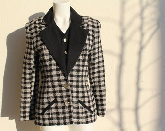 SALE! Vintage clothing, Check Jacket, Vintage Jacket, 80s Jacket, 80s Clothing, Black and White, Womens Jackets, Unique Jacket, Medium