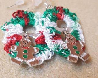 Holiday Gingerbread Man Pop Tab Earrings