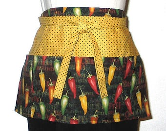 Ladies Teens Apron Peppers and Polka Dots Vendors Crafts Gardening or Utility Use