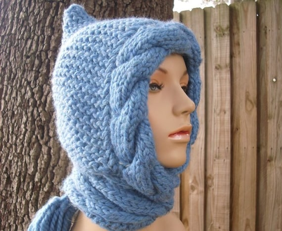 Knit Hat Womens Hat - Blue Cable Scarf Hat in Sky Blue - Hooded Scarf Blue Knit Hat - Blue Scarf Blue Hood Blue Hat Womens Accessories