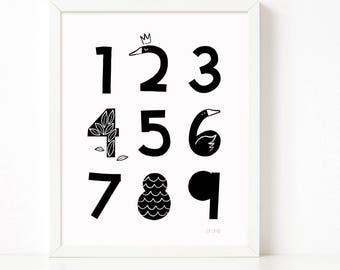 Numbers Wall Art print, Numbers printable, 123 prints, Scandinavian print, nursery decor, nursery art, kids poster
