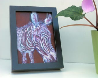 Zebra painting - zebra gift - purple maroon living room decor - zebra wall art - striped safari animal - animal lover gift - safari wall art
