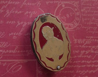 Vintage Richard Hudnut Du Barry Silvertone Sliding Rouge Compact With Madame Du Barry Cameo Portrait Design and Red Enameling, With Rouge